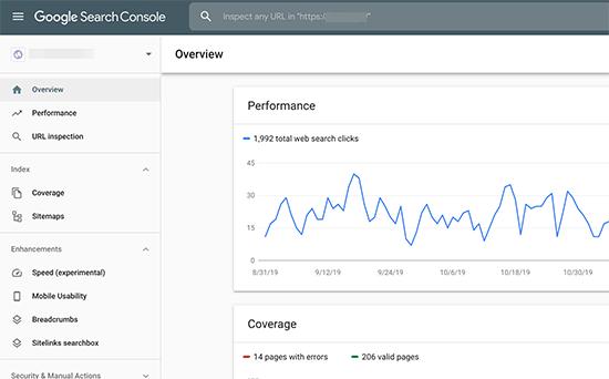 داشبورد کنسول جستجو گوگل