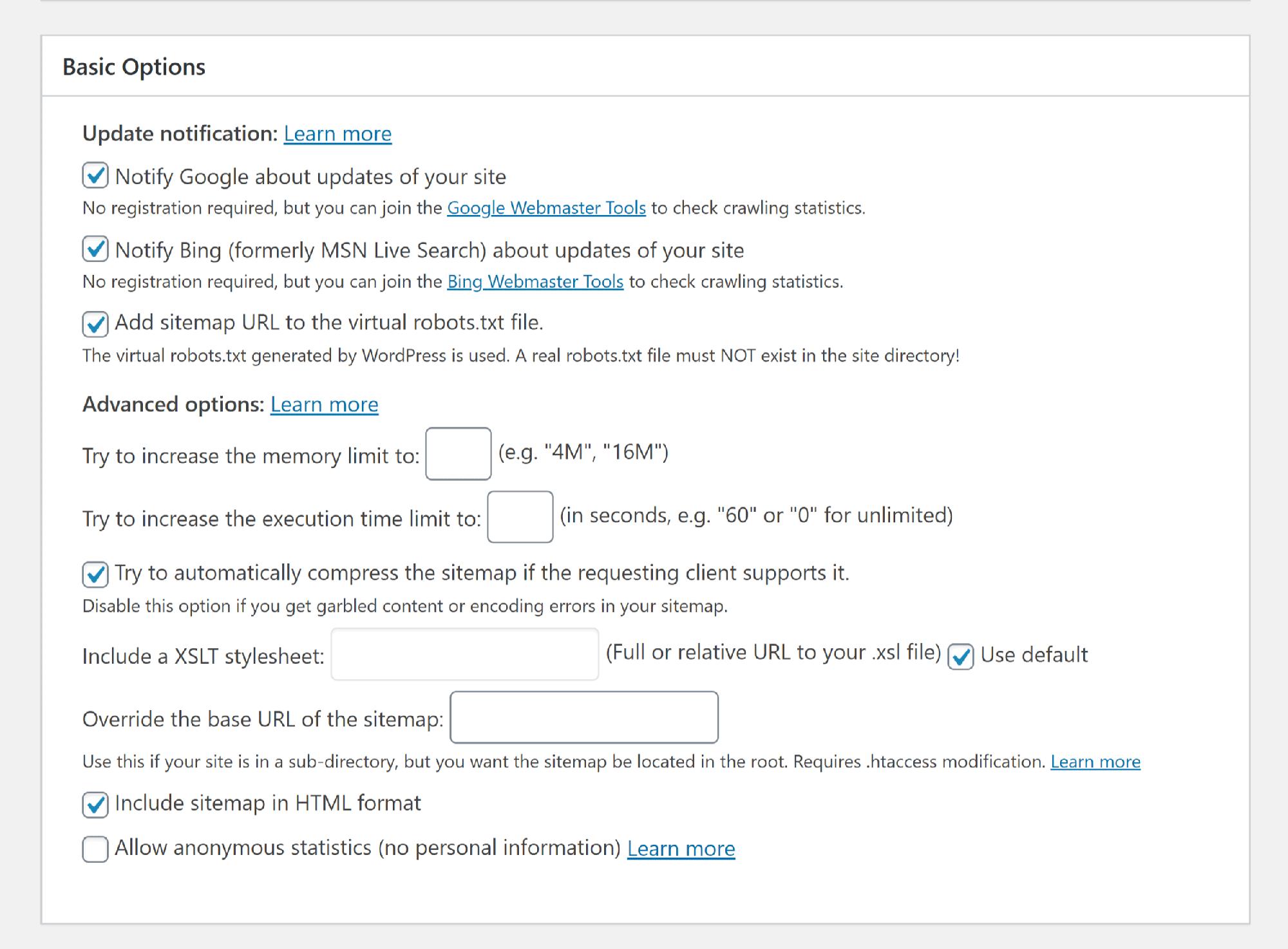تنظیمات ابتدایی google xml sitemaps