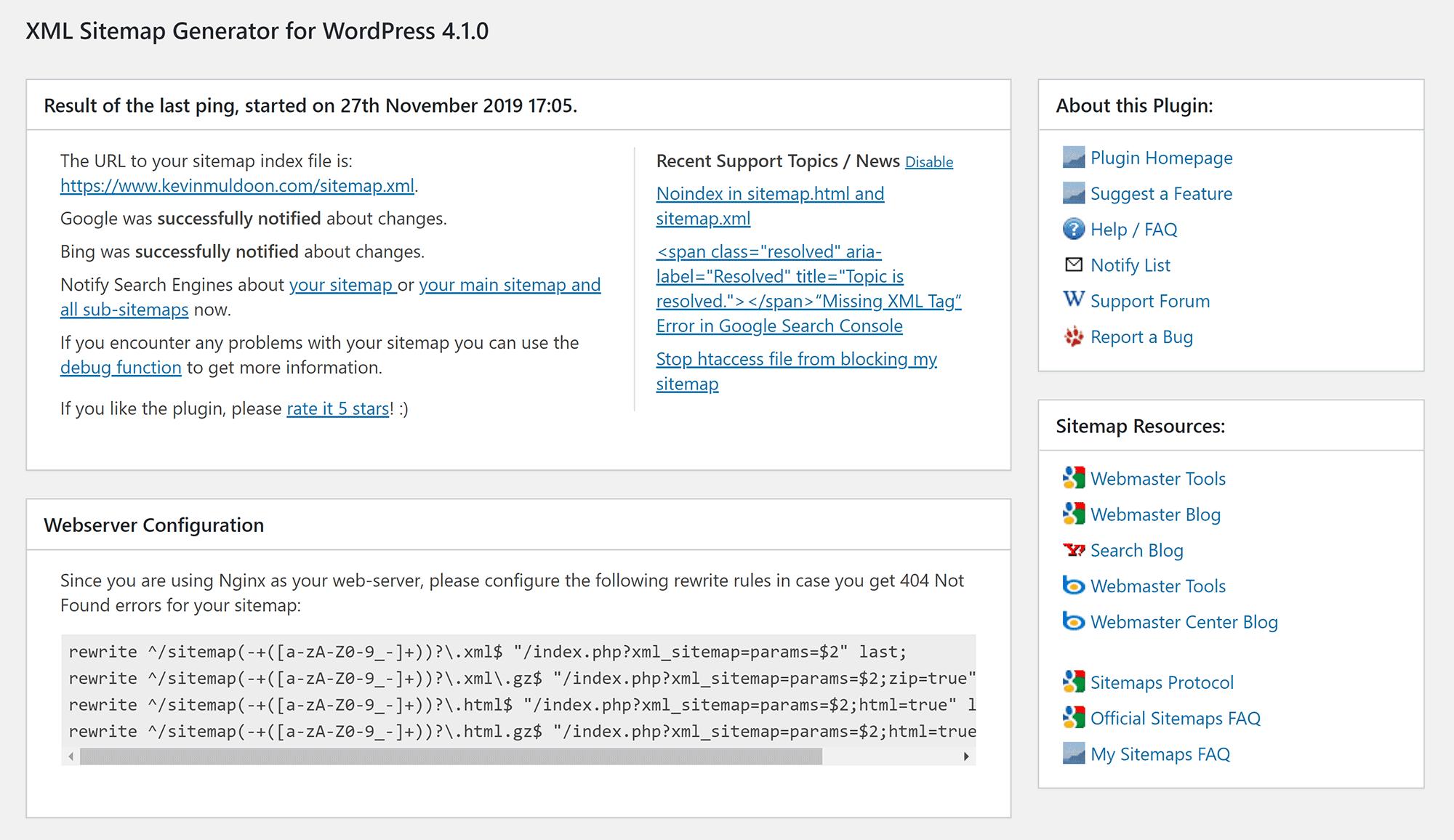 تنظیمات Google XML Sitemaps
